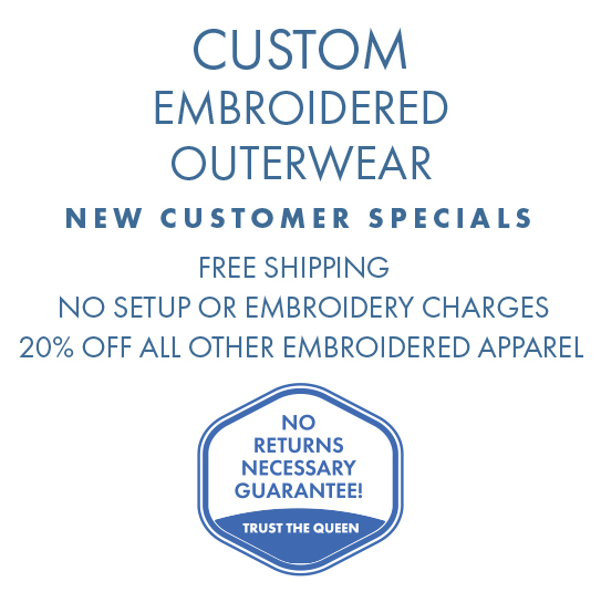 Custom Embroidered Apparel, no setup or embroidery charges, free shipping