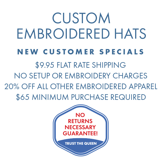 Custom Embroidered Hats, no setup or embroidery charges, $9.95 shipping