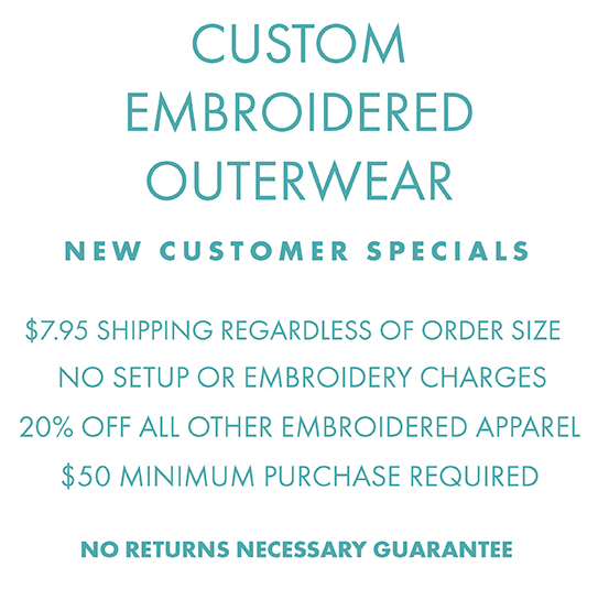 Custom Embroidered Apparel, no setup or embroidery charges, $7.95 shipping