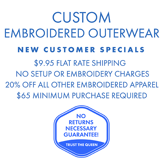 Custom Embroidered Apparel, no setup or embroidery charges, $9.95 shipping