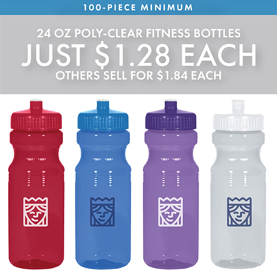 Custom Printed 24 Oz. Poly-Clear Fitness Bottles