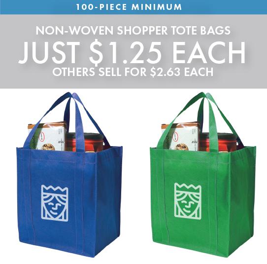 Custom Printed                 Non-Woven Shopper Tote Bags
