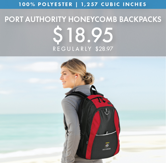 Custom Embroidered Port Authority Contrast Honeycomb Backpacks!