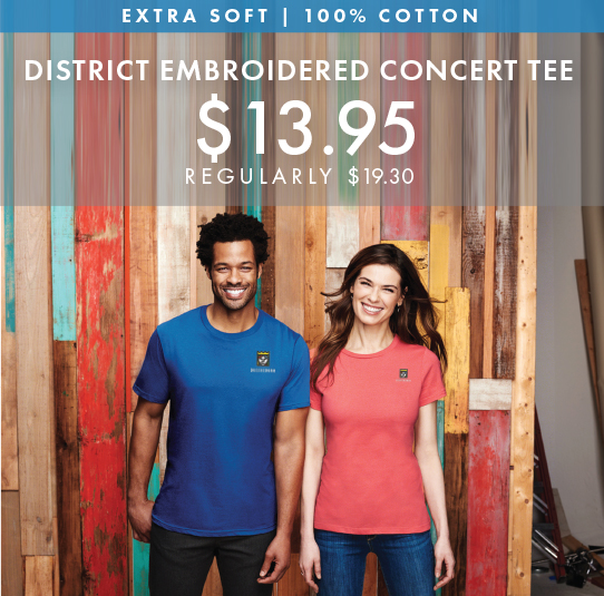 Custom Embroidered District Concert Tees